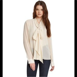 J Brand Pussy Bow Sheer Long Sleeve Blouse